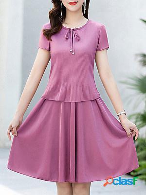 Round neck lace fashion pleated maxi dress