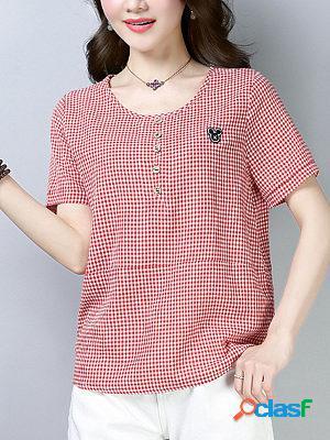 Korean style loose plaid t-shirt