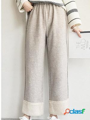 Autumn and winter fashion high waist wide leg plus cashmere casual pants