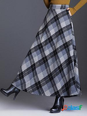 Autumn and winter new fashion woolen multicolor plaid skirt