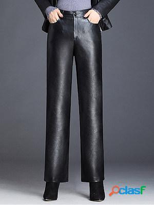 Fashion high waist wide leg casual loose pu casual pants
