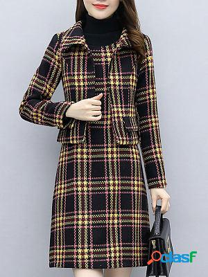 Fall winter plaid blazer skirt two-piece suit