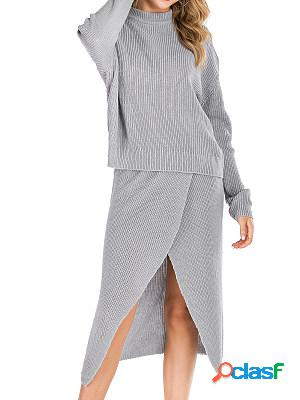 Autumn and winter new solid color casual two-piece suit split slit knit suit