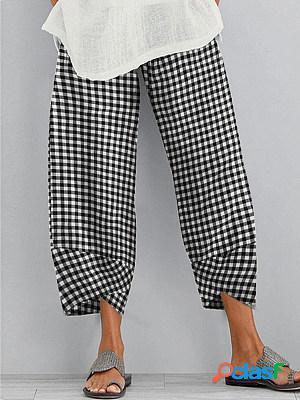 Retro loose plaid casual pants