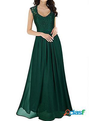 Round neck lace stitching sleeveless dress