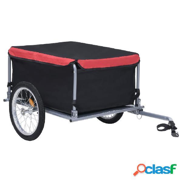 Vidaxl reboque de carga para bicicleta 65 kg preto e vermelho
