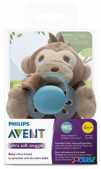 Philips chupeta ultra soft 0-6m + macaco de pelúcia