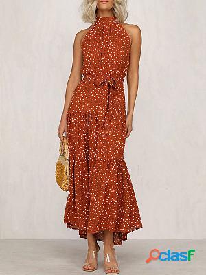 Polka dot ruffled round neck sleeveless dress