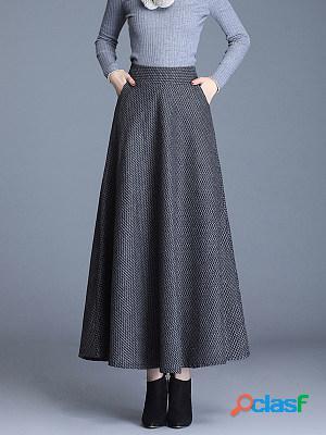 Fashion autumn and winter new high-waist mid-length large plaid skirt