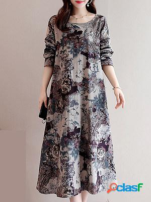 Loose printed long sleeve over the knee dress