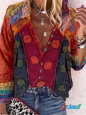 V neck print long sleeve blouse