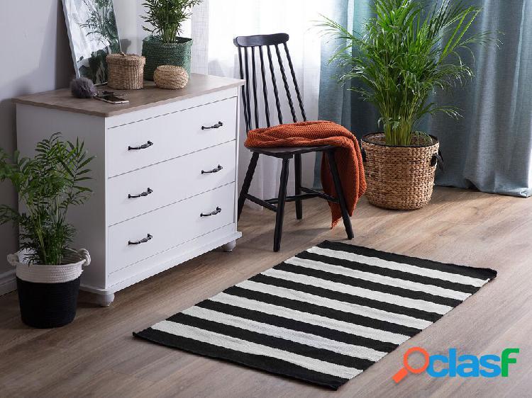 Tapete de exterior 80 x 150 cm preto e branco tavas