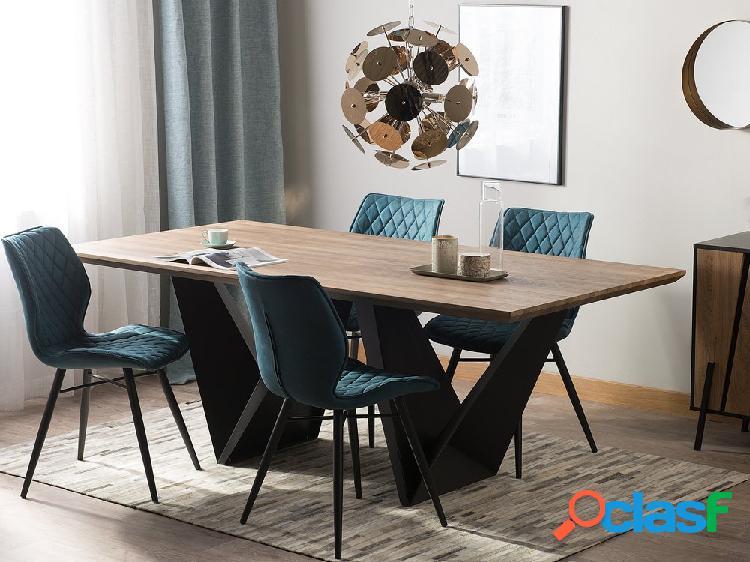 Mesa de jantar 200 x 100 cm castanho escuro e preto sintra