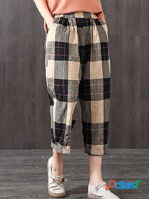 Plaid loose high waist casual trousers