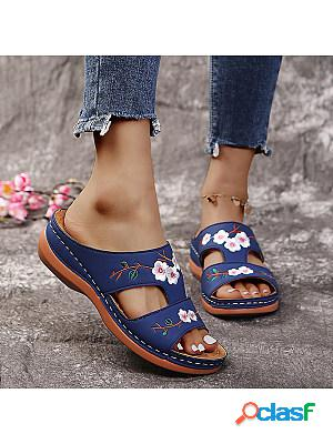 Women's vintage cutout embroidered wedge slippers