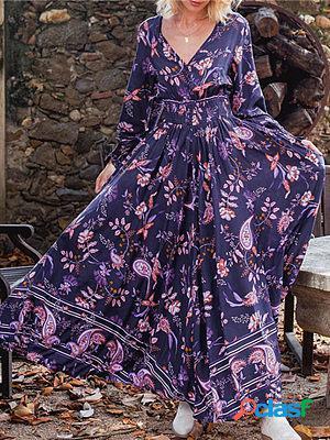 Loose long sleeve v-neck printed dress