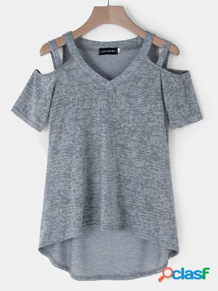 Grey lowcut v-neck cutout cold shoulder t-shirts
