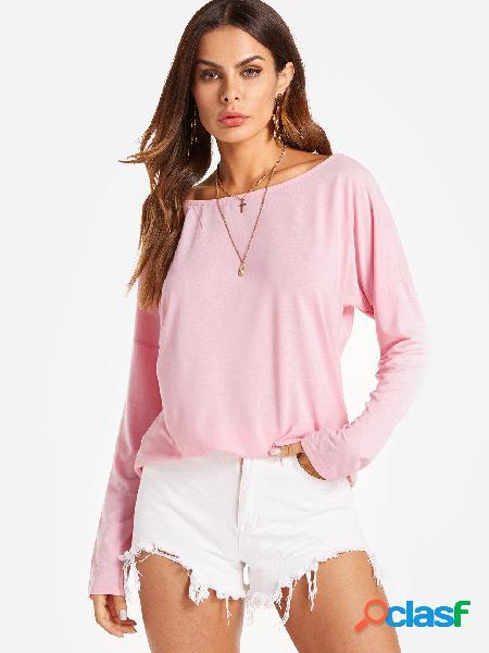 Cutout round neck backless oco detalhes t-shirts em rosa