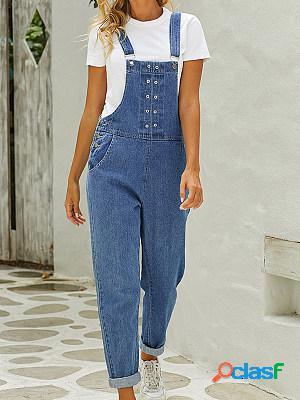 Fashion high waist trousers casual suspender jeans