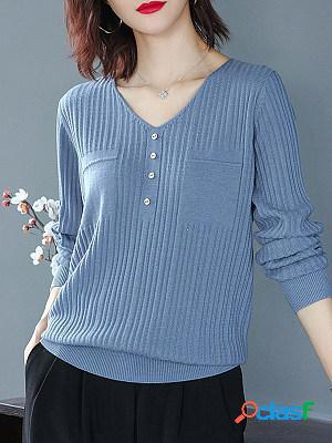 V neck plain buttons long sleeve knit pullover