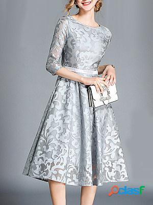 Round neck lace skater dress