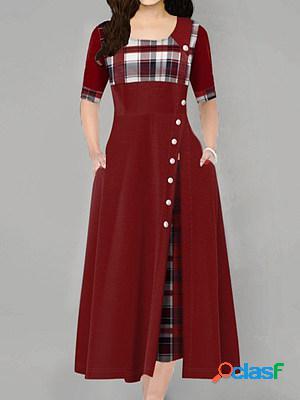 Plaid contrast color irregular dress