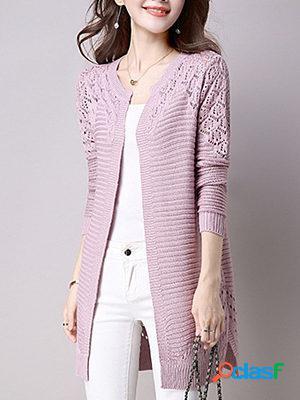 Cutout plain knit cardigans