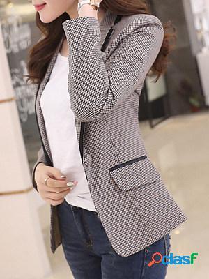 Casual commuting long sleeve plaid blazer