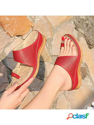 Women's vintage bohemian cutout wedge slippers