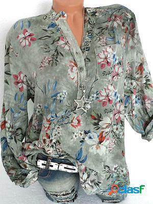 V neck button floral printed blouse