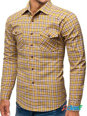 Casual long sleeve plaid men shirt