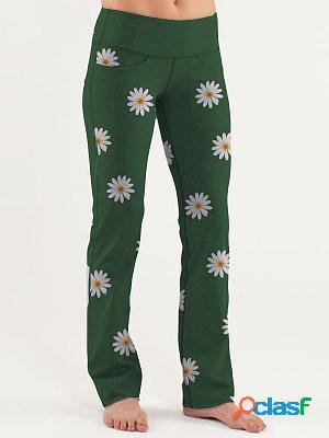 Autumn and winter fashion high waist daisy printed wide-leg casual pants