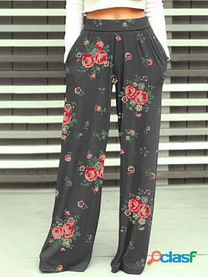 Autumn and winter fashion high waist printed trousers