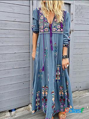 Long sleeve cotton-blend boho v neck maxi dress