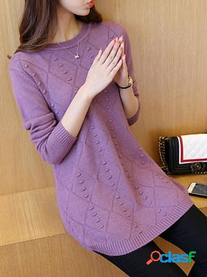 Round neck plain long sleeve knit pullover