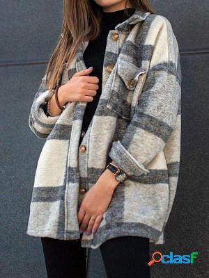Long sleeve lapel loose plaid casual jacket