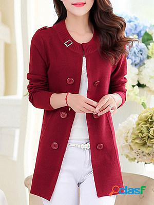 Round neck elegant plain long sleeve knit cardigan