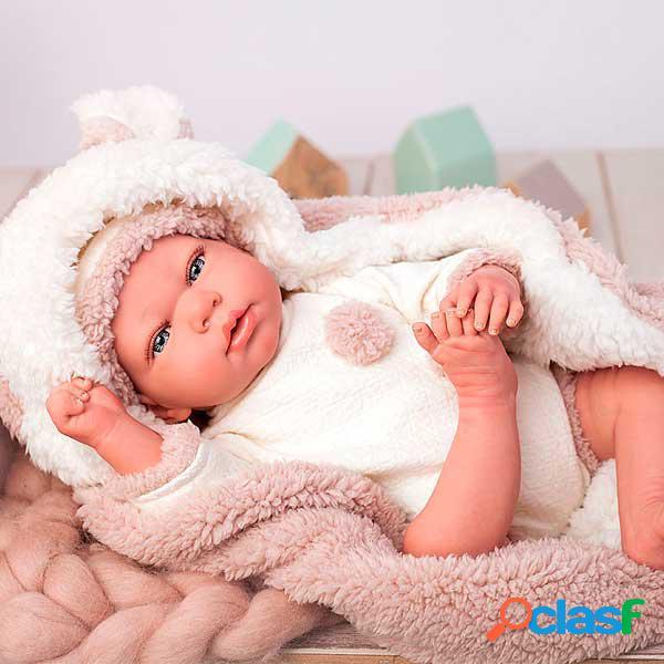 Arias boneca reborn anna com manta e ursinho de 40cm