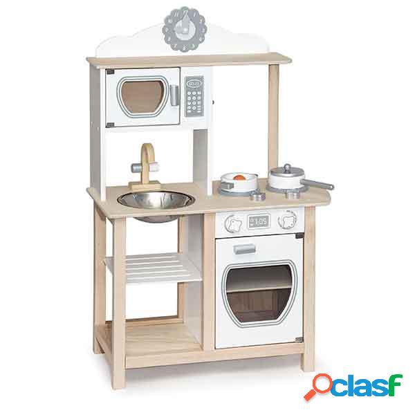 Cozinha infantil madeira branca 92cm