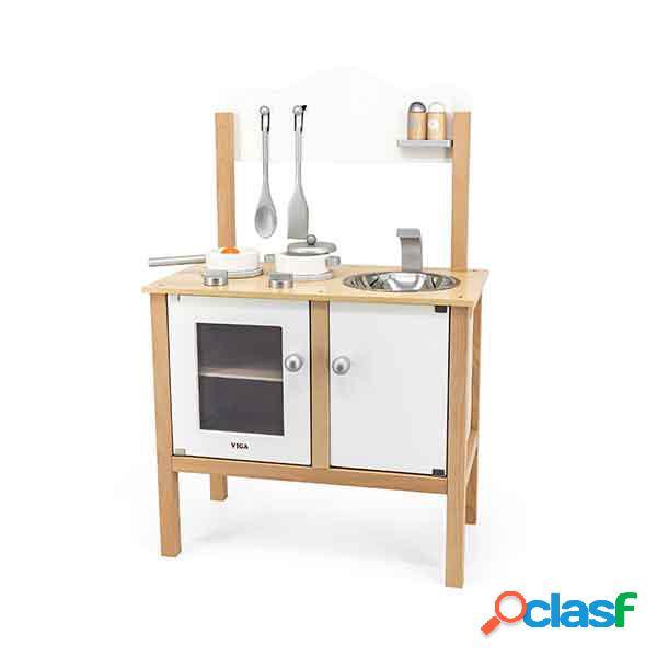 Cozinha infantil de madeira branca com acessórios 84cm