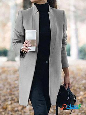 Casual Solid Color Stand Collar Long Sleeve Woolen Coat