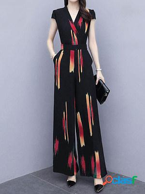 Fashion casual V-neck new printed thin high-waisted wide-leg pants