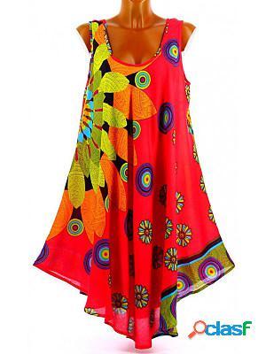 Fashionable Loose Chiffon Multicolor Printed Sling Dress