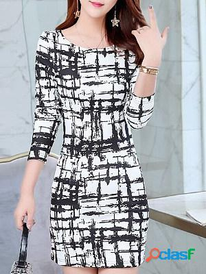 Large Size Mid-length Dress With Plaid Print