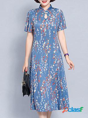 Stand-up collar cutout flower print maxi dress