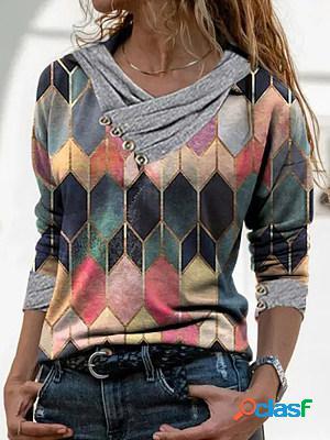 V neck print long sleeve t-shirt