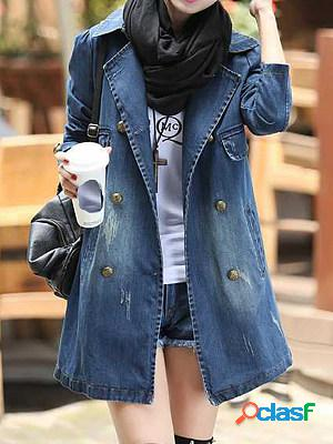 Fashion mid-length slim white denim jacket