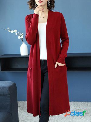 Plain long sleeve knit cardigan