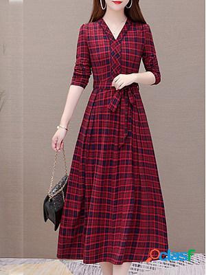 Plaid print temperament maxi dress