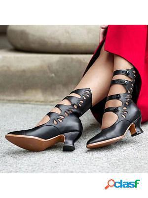 Cutout toe heeled roman sandals